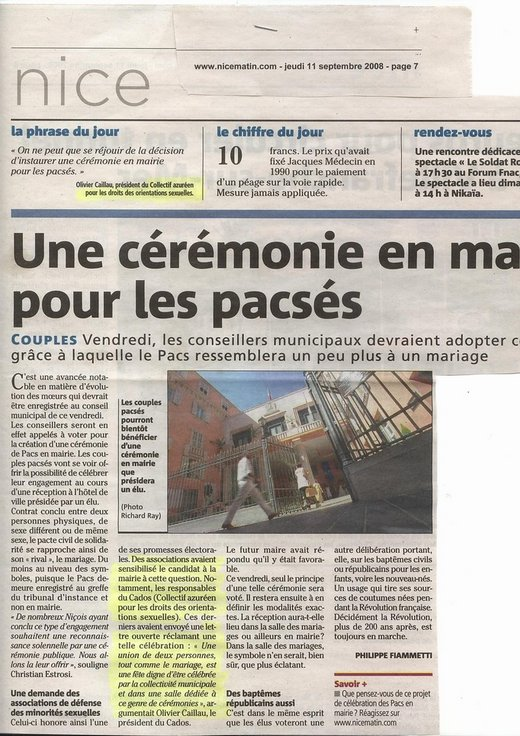 Article Nice-Matin PACS en Mairie, sept 08